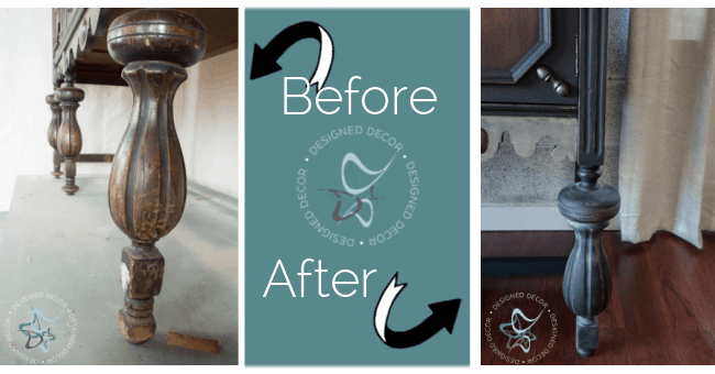 before and after photo aging dust on buffet legs to enhance the features