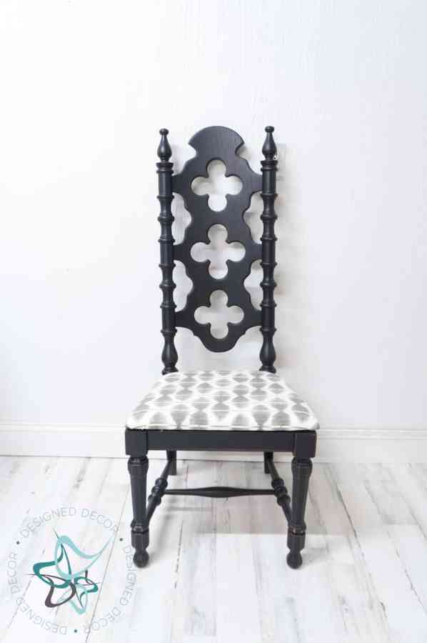 Vintage chairs painted in black with updated upholstery