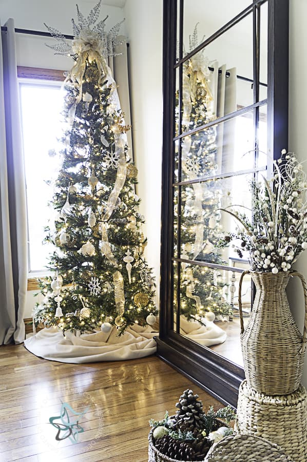 Christmas-tree-decorated-with-white-lights-gold-silver-ornaments