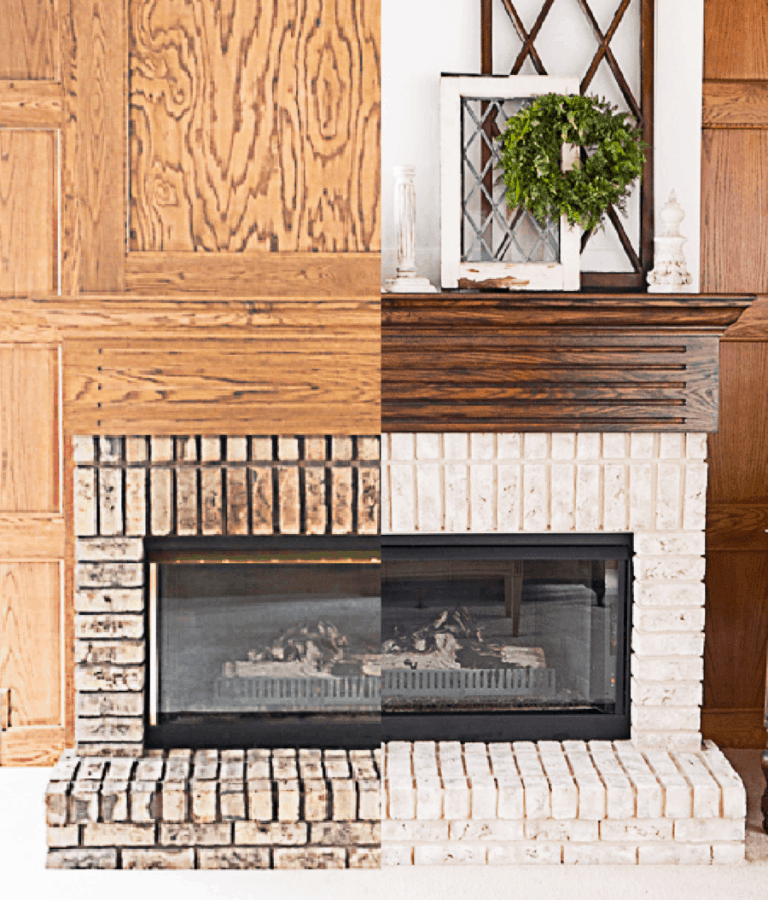 image of a brick fireplace before and after painting the brick to improve your home decorating