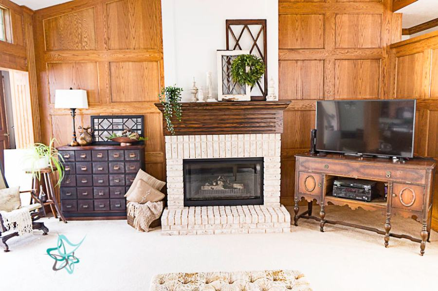 image of a fireplace with painted bricks and decorated