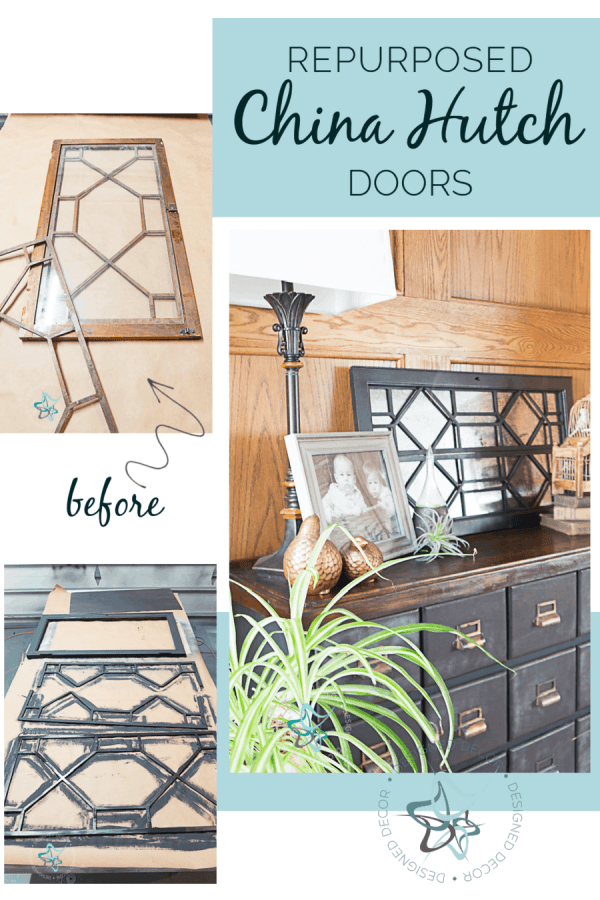 image of repurposed china cabinet doors - before-during and after images