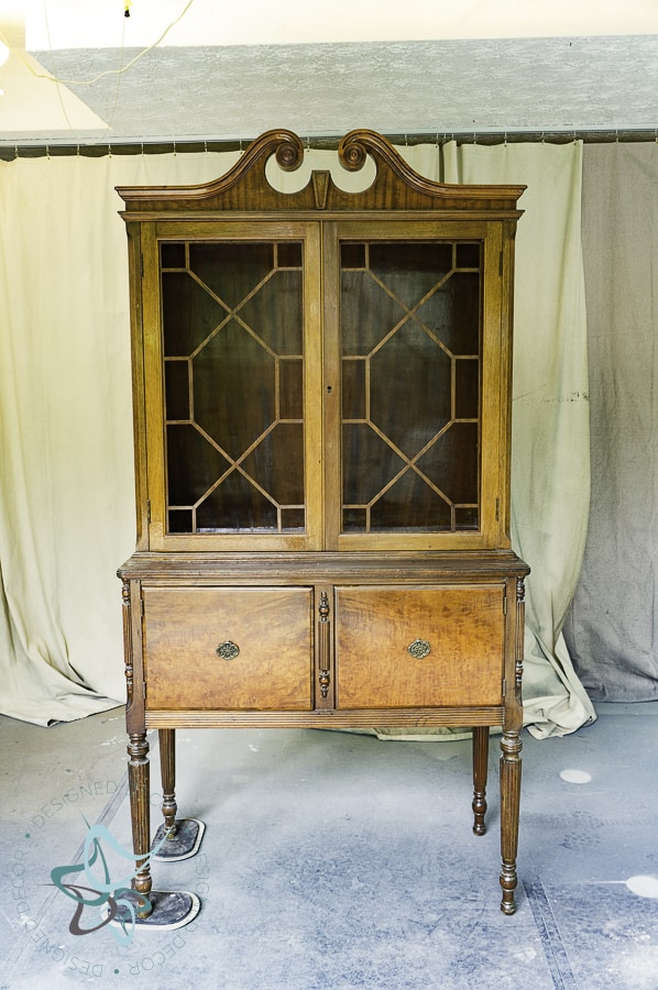 image of vintage china hutch with glass doors
