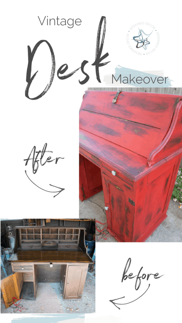the before and after of a vintage desk makeover