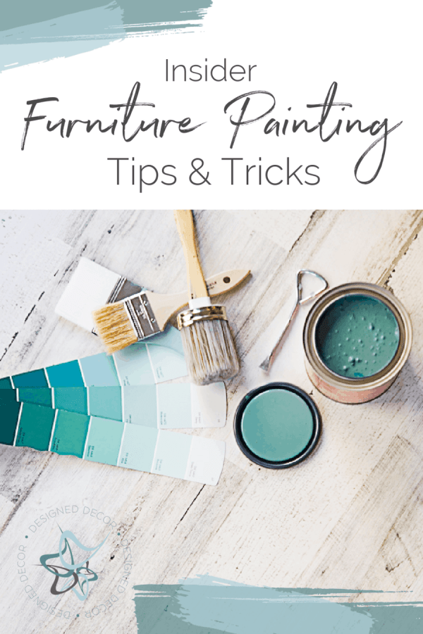 Graphic for Furniture Painting tips and tricks with an image of furniture painting supplies