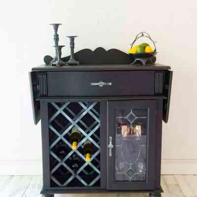 Beautiful wine bar makeover with paint and patina