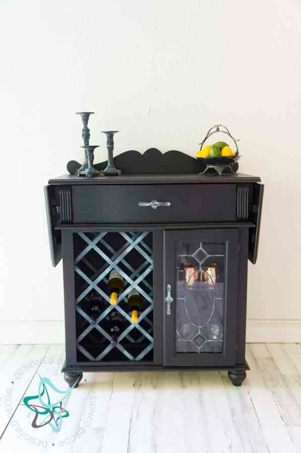 wine bar makeover with paint and patina effects