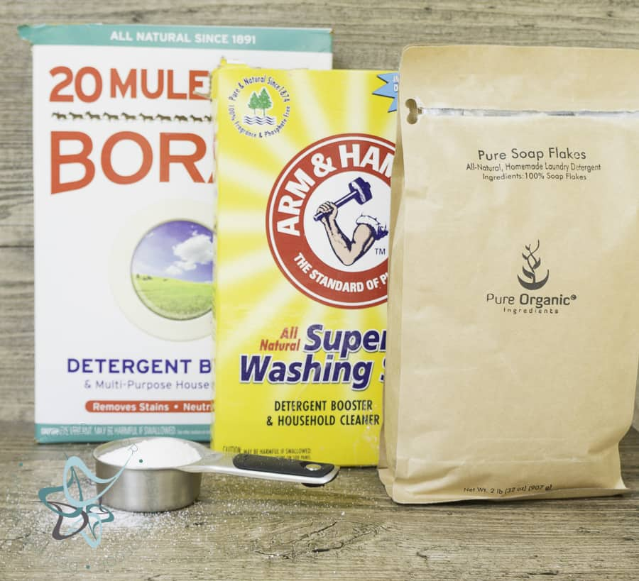 image of products used in making homemade laundry detergent