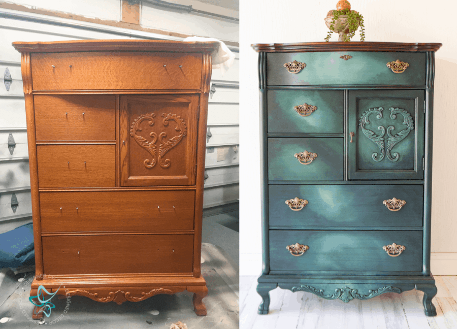 before  and after image of a dresser painted with a chalk paint meshing technique