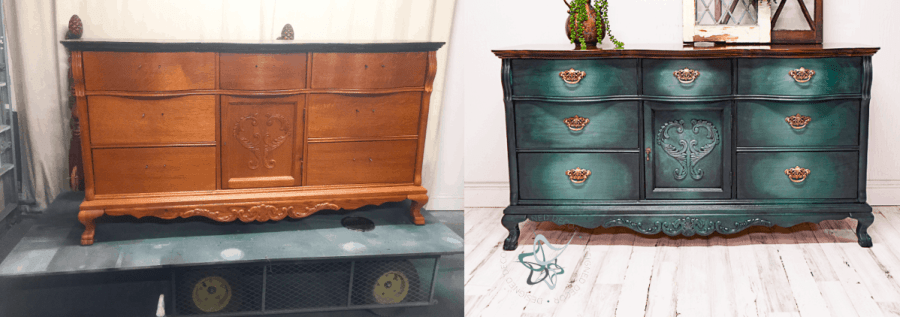 image of a dresser painted using a furniture paint meshing technique