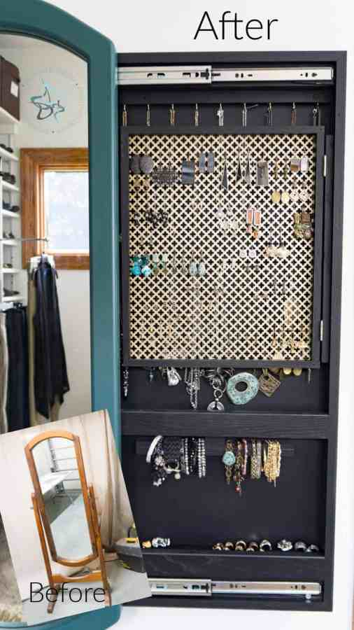 image of the before and after photo of a mirror jewelry cabinet