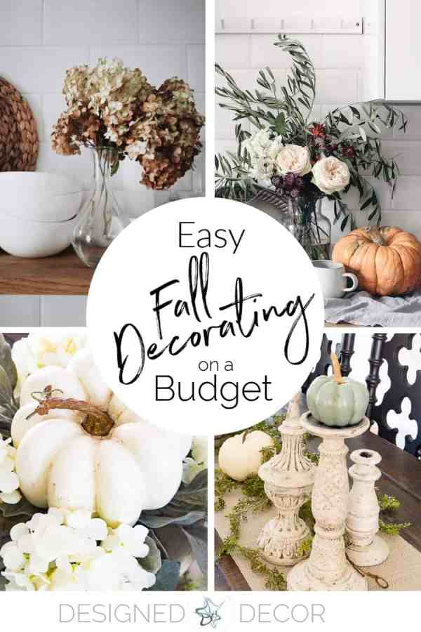Easy fall decorating tips graphic-photos of dried florals, pumpkins and candle sticks