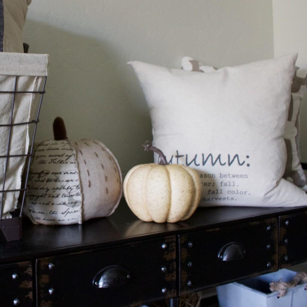 Fall Entryway - neutral fall theme, white pumpkins & wheat!
