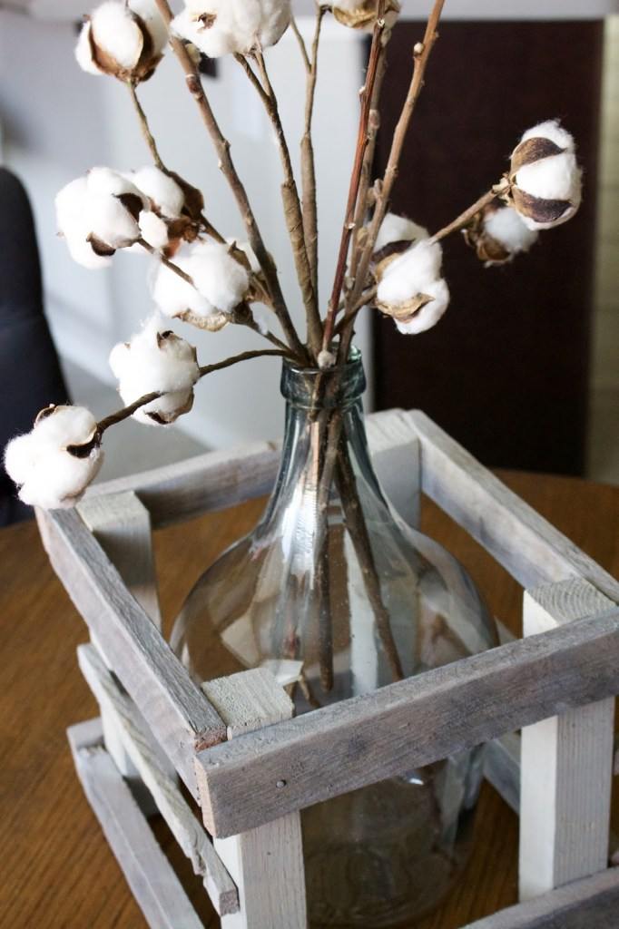 DIY crated glass bottle with cotton stems - perfect neutral Fall decor!