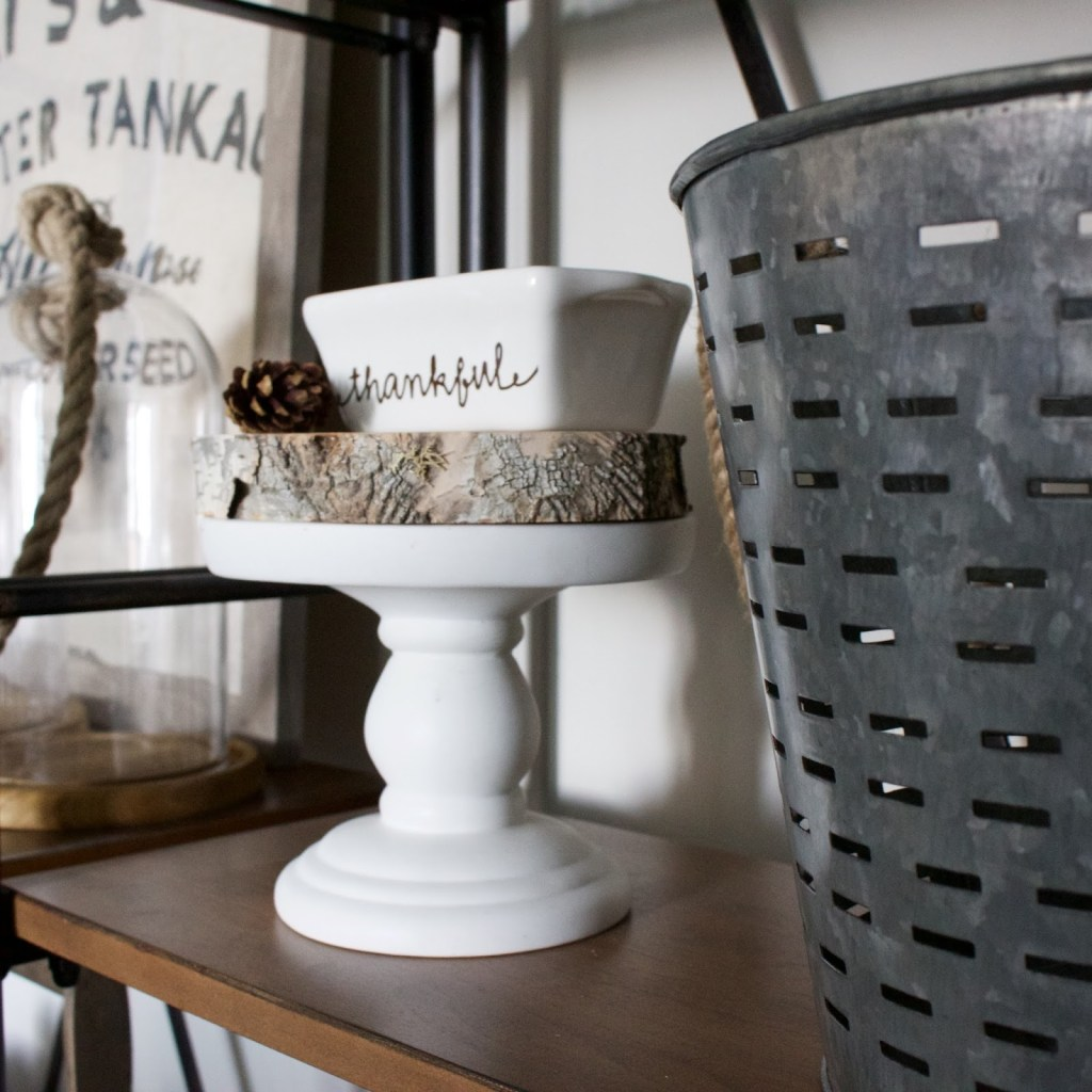 Fall Dining Shelves - decorating shelving for fall with a neutral theme!