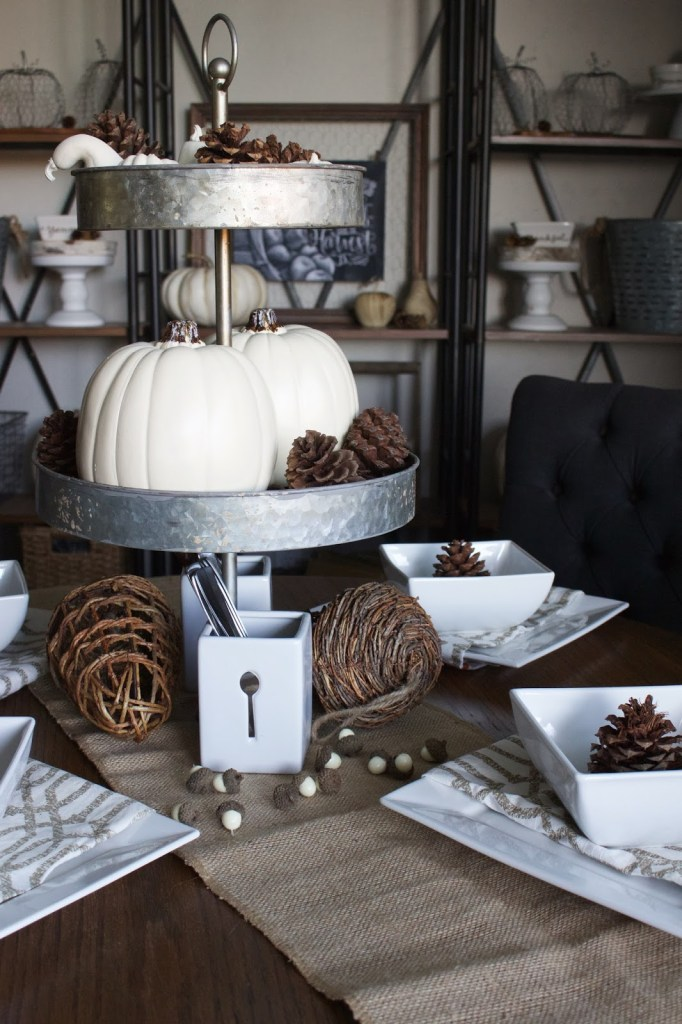 Fall Tablescape - neutral fall decor, white pumpkins, gourds & acorns