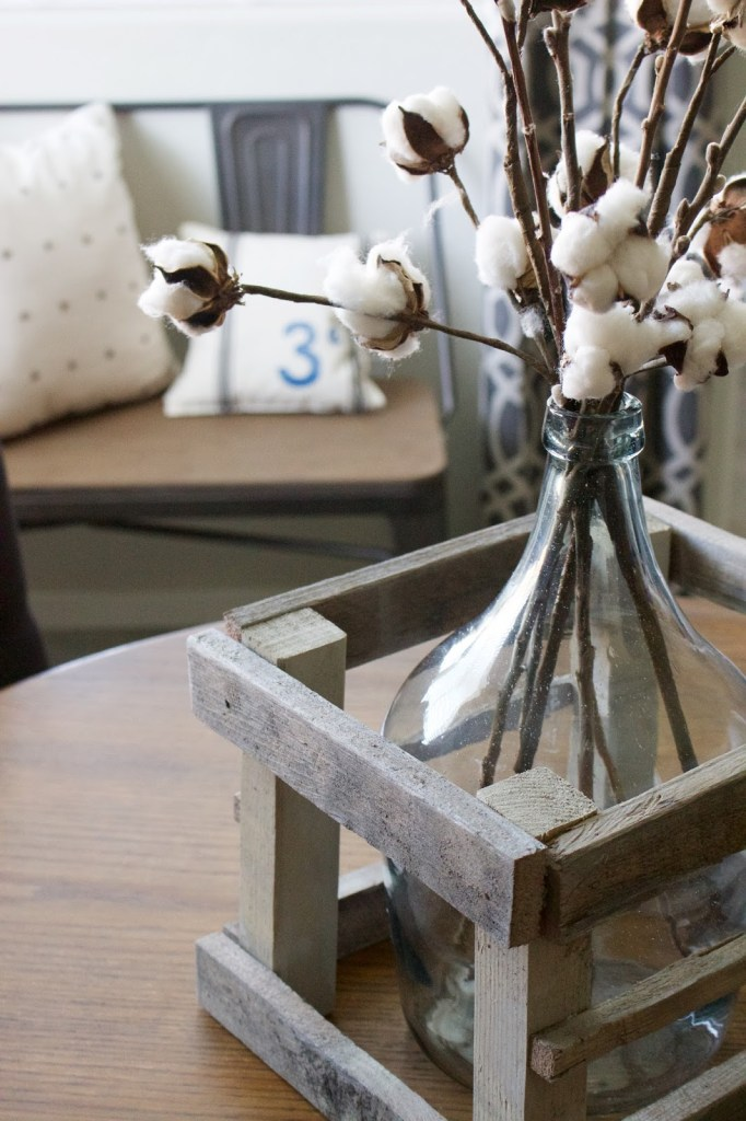 crated glass cotton stem craft