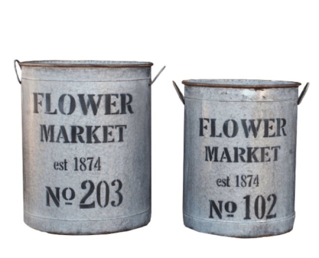 farmhouse flower buckets