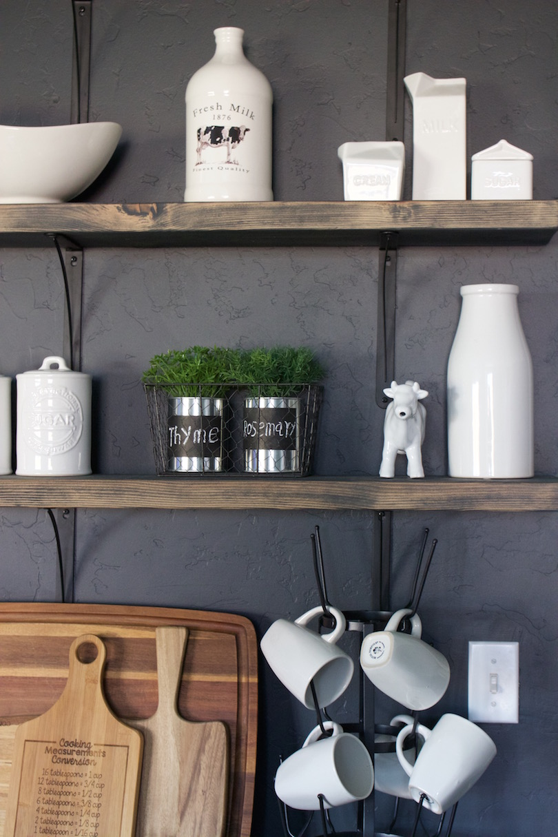 DIY open kitchen shelving and farmhouse accessories