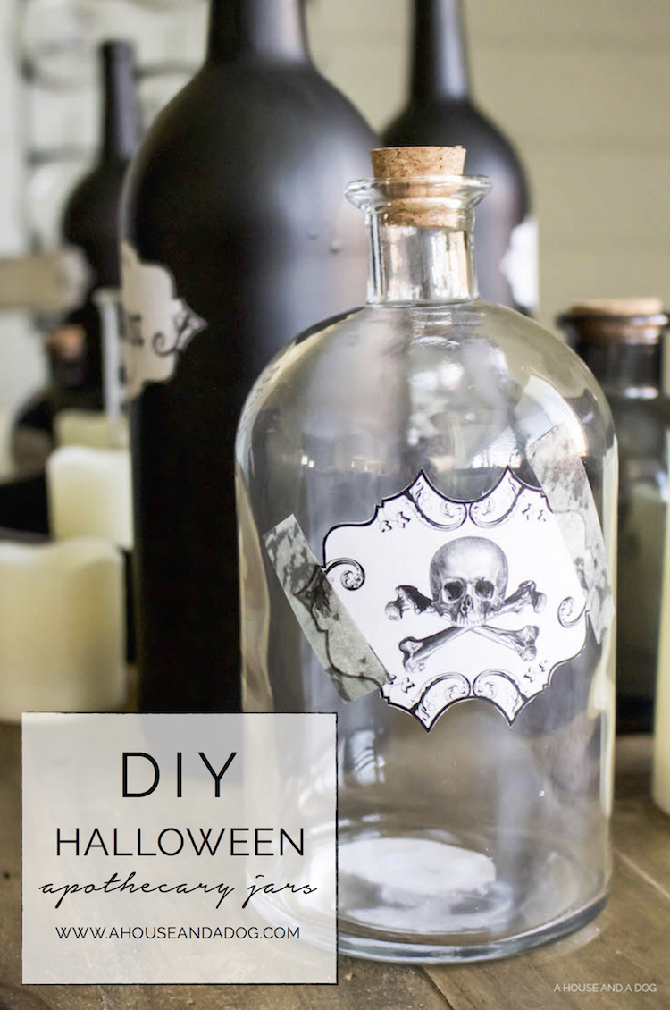 DIY Halloween Apothecary Jars and Tablescape   designedsimple.com