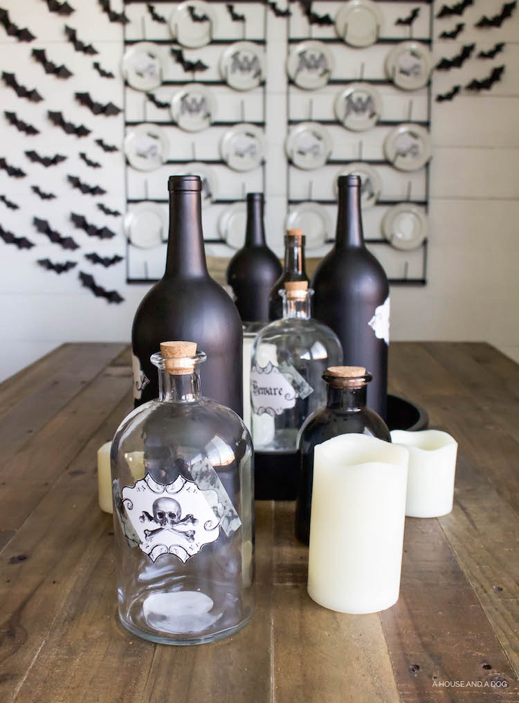 DIY Halloween Apothecary Jars and Tablescape | designedsimple.com