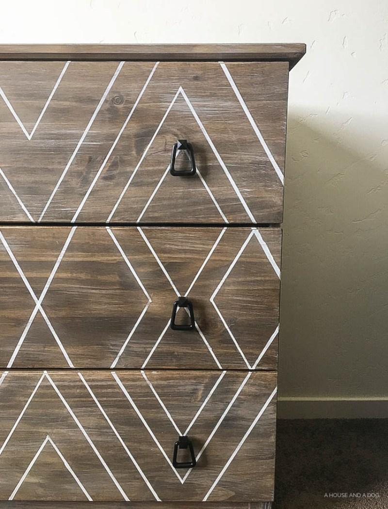 DIY Ikea Hack - Modern Graphic Tarva Dresser | One Room Challenge | designedsimple.com