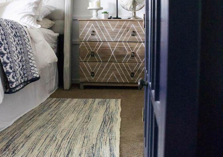 Blue & White Bedroom - DIY Horizontal Board & Batten Wall, DIY Painted Headboard & Bench, DIY Ikea Tarva Hack   One Room Challenge   designedsimple.com