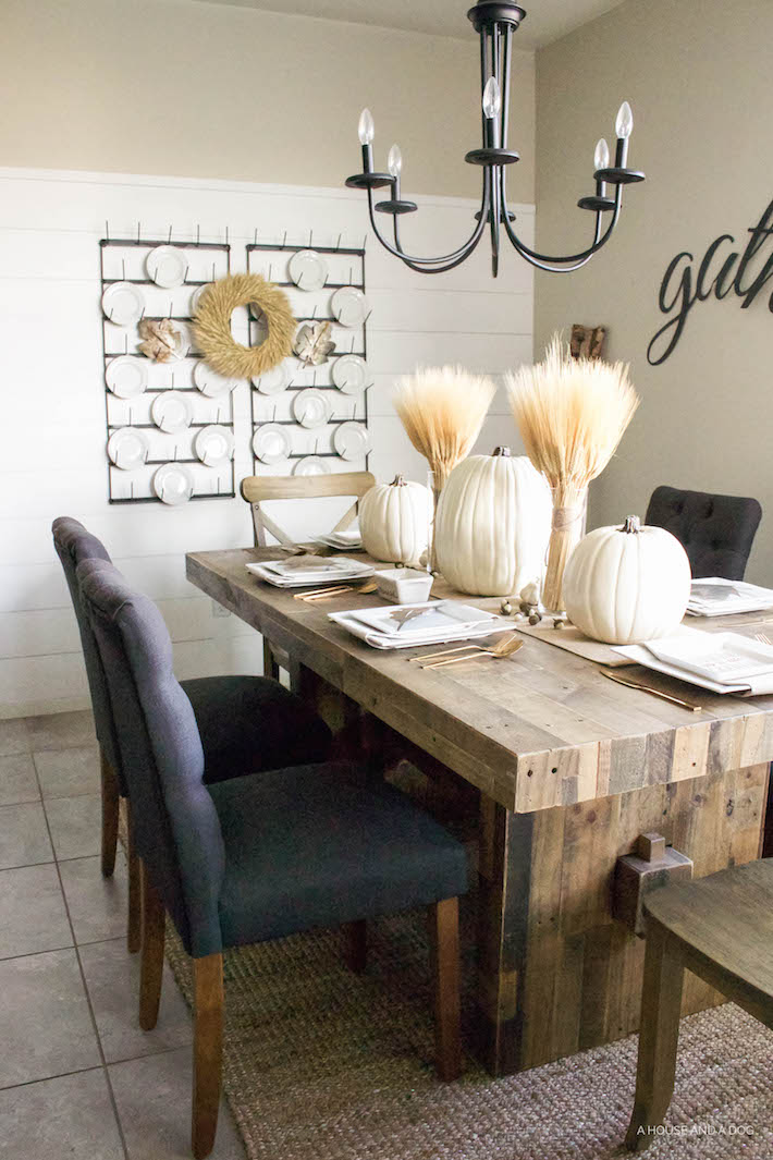 Neutral Gold & White Thanksgiving Table - White Pumpkins & Wheat | designedsimple.com
