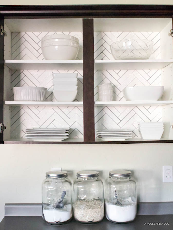 Kitchen Cabinet Wallpaper & Upgrading Builder Cabinets | designedsimple.com