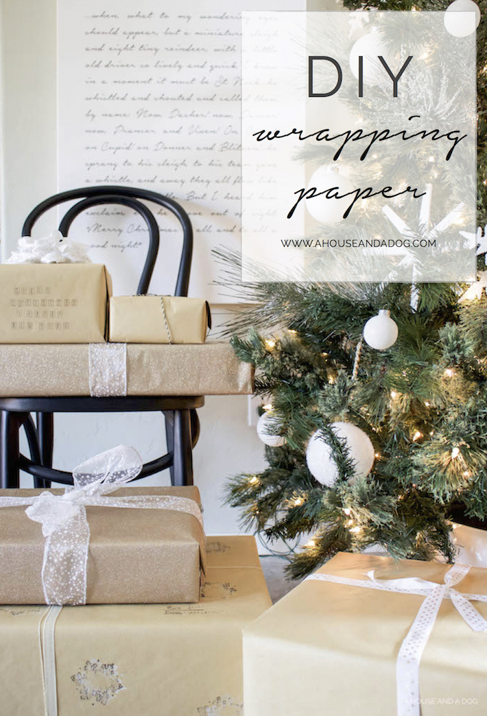 DIY Wrapping Paper - Christmas Tutorial with Stamps | designedsimple.com