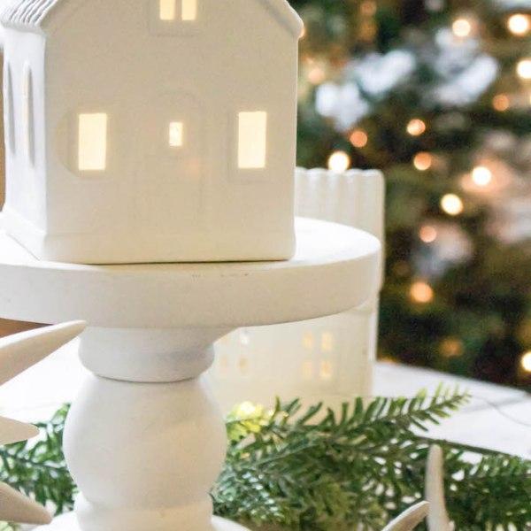 Winter Wonderland Christmas Village Tablescape | designedsimple.com