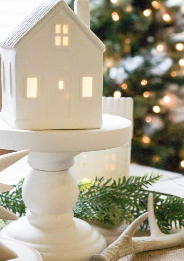 Winter Wonderland Christmas Village Tablescape