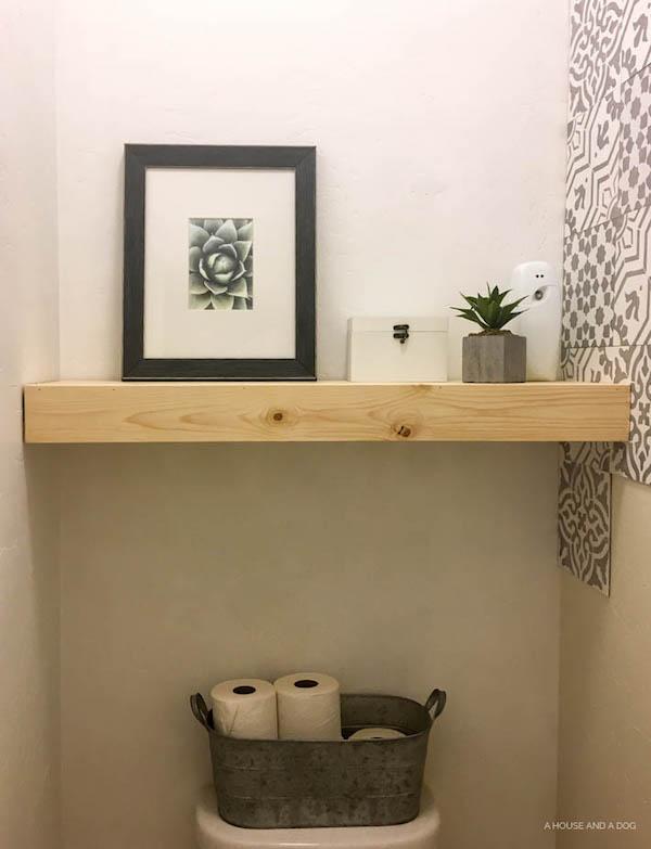 One Room Challenge - Master Bathroom: Week 2 - DIY Floating Shelf