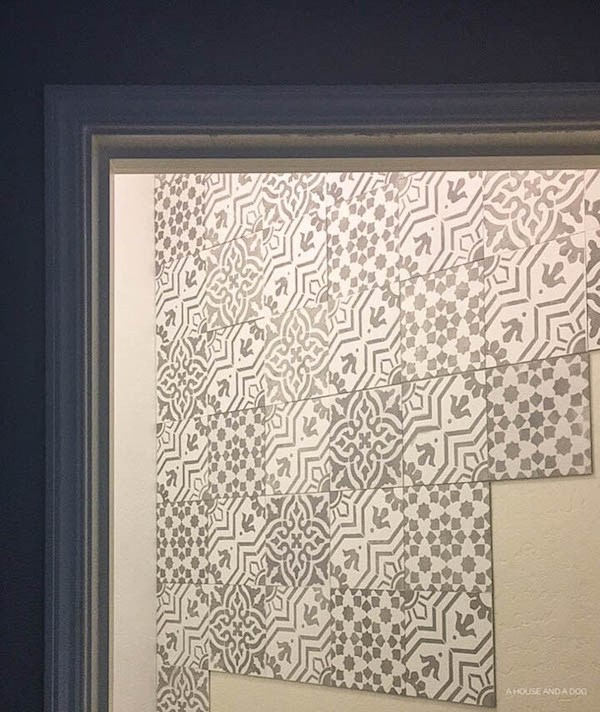 One Room Challenge - Master Bathroom: Week 2 - Stencil Cement Tile Wall