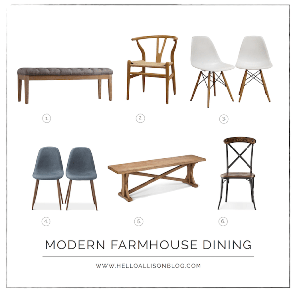 Modern Farmhouse Dining Chairs & Benches   designedsimple.com