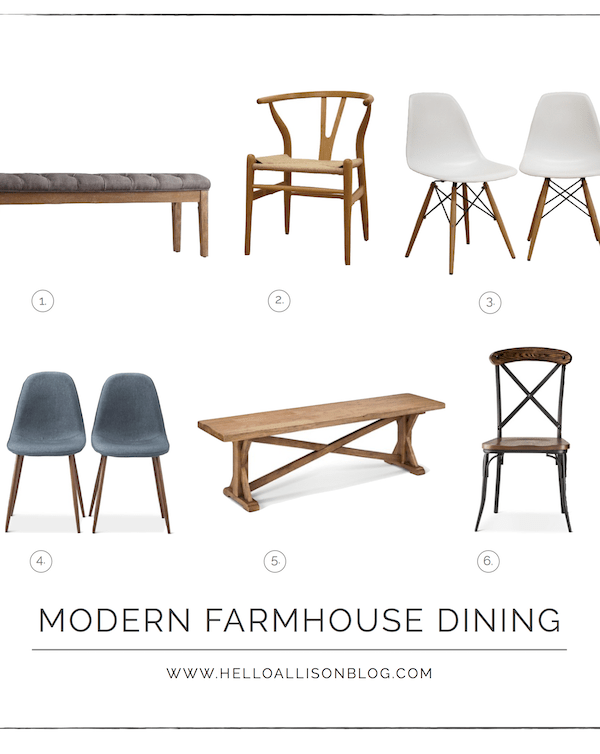 Modern Farmhouse Dining Chairs + Benches
