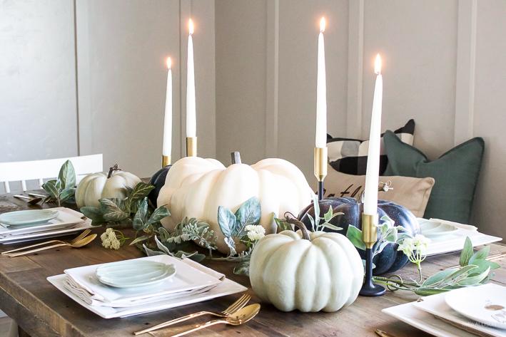 Blue + Green Pumpkin Fall Tablescape   designedsimple.com