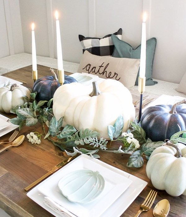 Blue + Green Pumpkin Tablescape