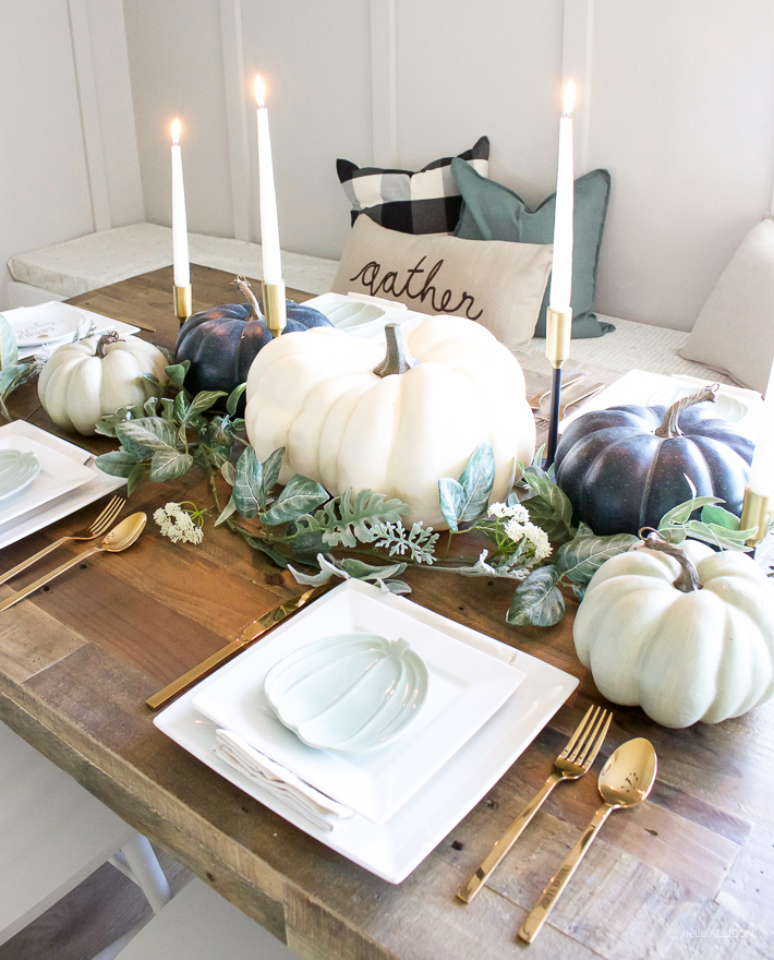 Blue + Green Pumpkin Fall Tablescape | designedsimple.com