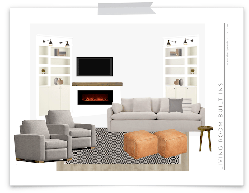 Living Room Design Board with DIY Built Ins | IKEA Billy Bookcase Hack | designedsimple.com