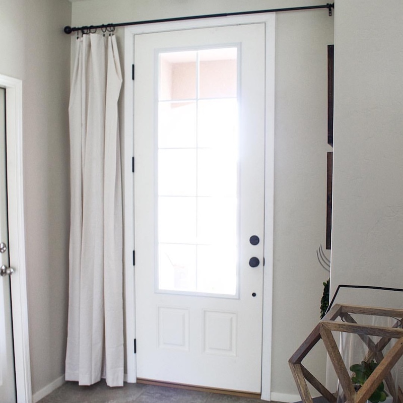 Simple Window Covering for a Glass Front Door  | Designed Simple | designedsimple.com