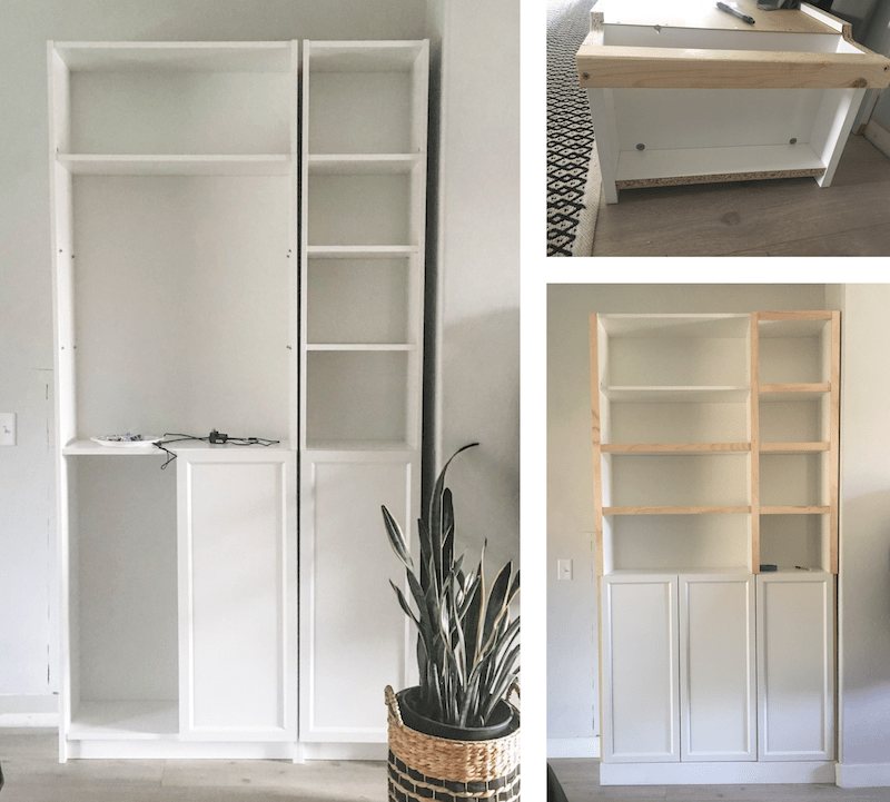 DIY Bult Ins | Ikea Billy Bookcase Hack | Create a custom look from stock bookcases with this easy tutorial! | Designed Simple | designedsimple.com
