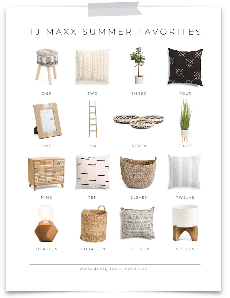 Summer Favorites from Tj Maxx | Shop home decor and browse affordable deals all from home! | Designed Simple | designedsimple.com