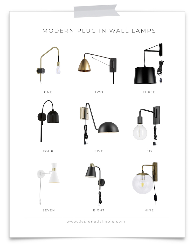 9 Modern Plugin Wall Lamps | Great for any wall space and no electrician required! Just plug it in and go! | Designed Simple | designedsimple.com