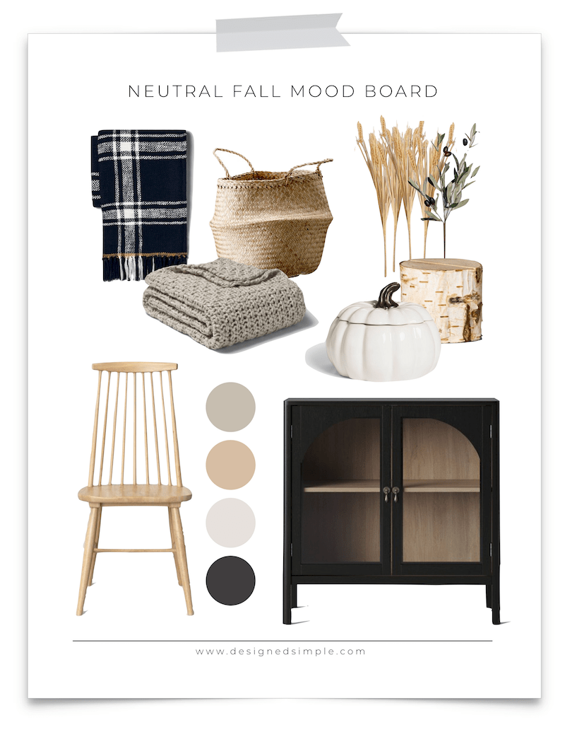 Neutral Fall Mood Board | Get inspired this season with a few Fall favorites! | Designed Simple | designedsimple.com