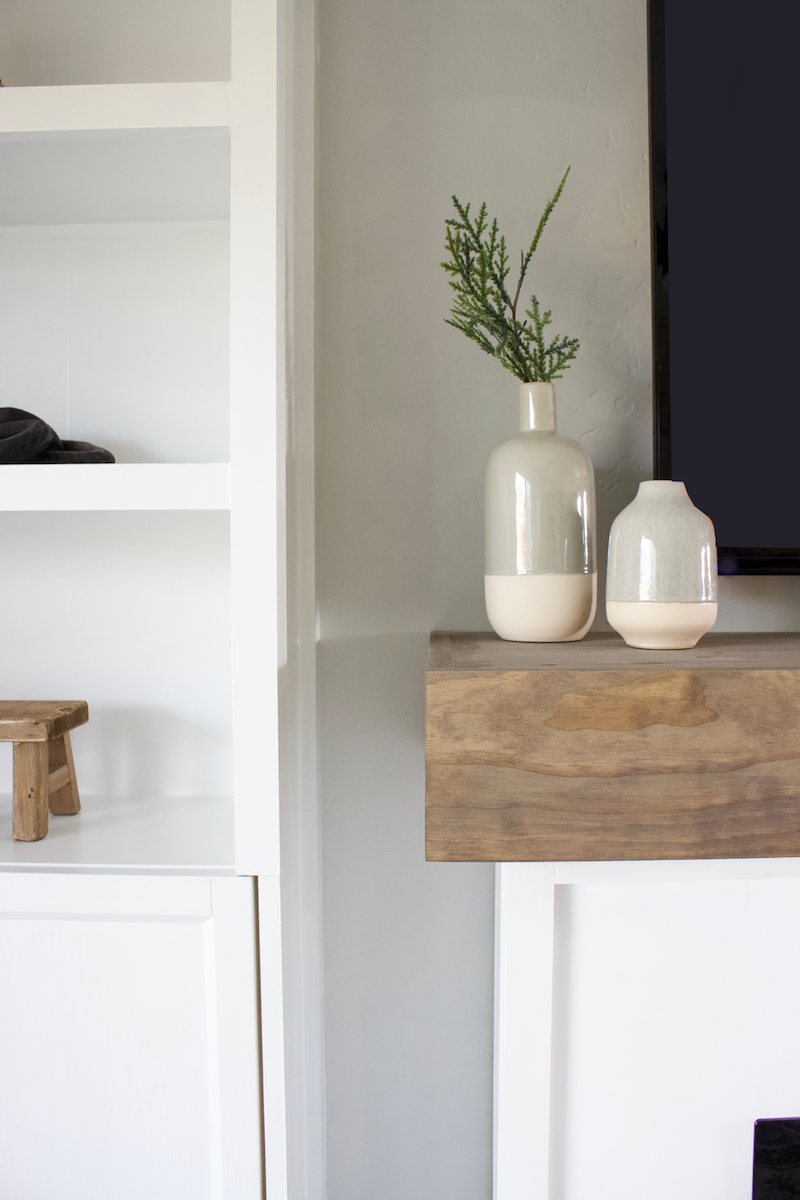 DIY Fireplace Mantel with Storage | Hide all that TV stuff with this DIY mantel! | Designed Simple | designedsimple.com