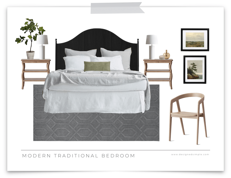 Modern Traditional Bedroom Design | Affordable decor items that are beautiful and timeless! | Designed Simple | designedsimple.com