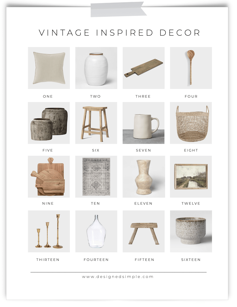 Vintage Inspired Decor | Add vintage vibes to your home at affordable prices and easy to find decor! | Designed Simple | designedsimple.com