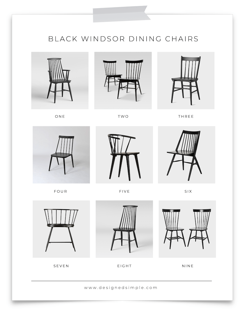 Sharing my favorite black windsor dining chairs! Stylish, functional, and add a touch of warmth to a neutral space. | Designed Simple | designedsimple.com