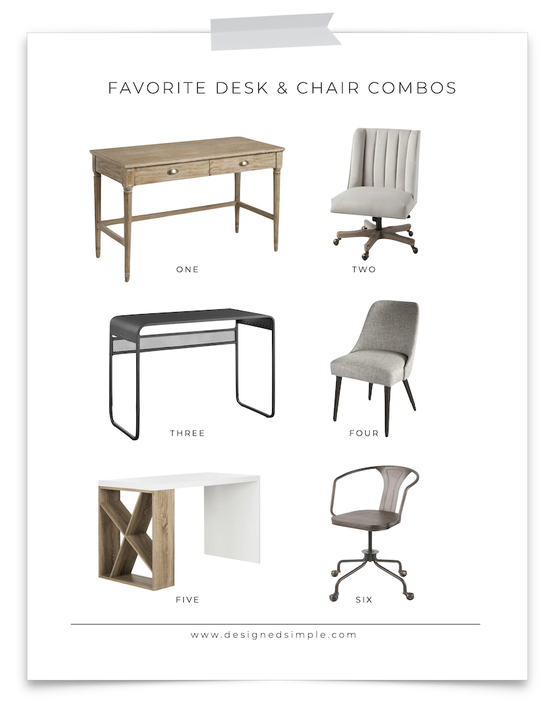 Favorite Desk and Chair Combinations | Create a stylish desk area in any room with these great combos! | Designed Simple | designedsimple.com